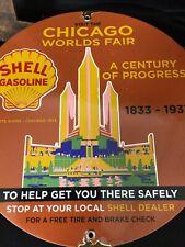 VINTAGE PORCELAIN SHELL CHICAGO WORLDS FAIR AD SIGN
