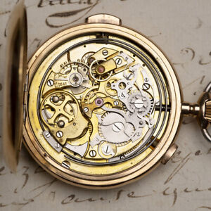 REPEATING CHRONOGRAPH 14K GOLD Antique Repeating Pocket Watch by LOUIS BRANDT