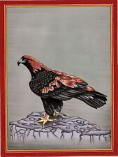 Golden Eagle Bird Painting Handmade Watercolor Ornithology Feather Ethnic Art