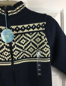 The Childrens Place Boys Navy Full Zip Sweater Sherpa Lined Youth Sz XS (4) New!