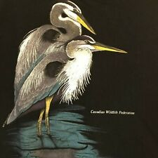 Vintage Canadian Wildlife Federation T-Shirt Medium Harlequin 1993 Blue Herons