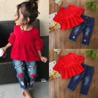 2Pcs Baby Girl Kids Ruffle Tops Embroidered Denim Jeans Pants Summer Outfits Set