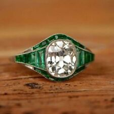 4.00CT Cushion Cut Diamond & Emerald Antique Art Deco Engagement Ring 925 Silver