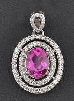 14KT White Gold Natural Pink Tourmaline 2.70Ct EGL Certified Diamond Pendant
