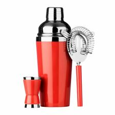 Cocktail Set, Red/Stainless Steel, Shaker/Strainer/Measuring Cup