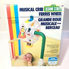 Vintage Sesame Street Musical Crib Ferris Wheel Nursery Ernie Bert figure 1979