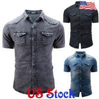 Men Cowboy Denim Short Sleeve Slim Fit Button Casual Shirt Blouse Tops T-shirt