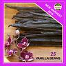 "25 Extract Grade B Madagascar Bourbon Whole Vanilla Beans-Pods 4""- 5"" Inchers"