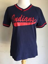 Vintage 80's Cleveland Indians Little League Ribbed V-Neck Jersey #6 Small