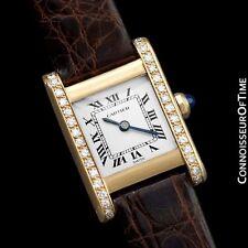 CARTIER TANK Ladies Mechancial Watch, (Francaise) - 18K Gold & Diamonds