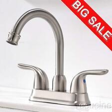 Vccucine Dual Handles Brushed Nickel Brass Bathroom Sink Faucet