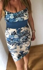 Pilot Soft Blue Floral Print Mini Bodycon Halterneck Dress Size 12