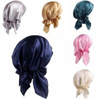 Women Solid Soft Silk Satin Hat Night Sleep Cap Long Hairs Care Bonnet Headwrap