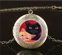 Vintage Two Cute Cat Photo Cabochon Glass Brass Locket Pendant Necklace