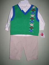 Petit Ami Boy's 3-piece Pant Shirt Sweater Vest Set Green Sz 12 M Months NWT