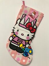 NEW HELLO KITTY CHRISTMAS STOCKING PINK AND WHITE DRESSED AS NUTCRACKER W/ MOUSE