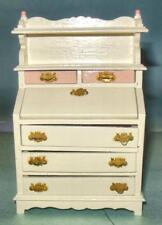 SECRETARY HUTCH WHITE WITH PINK VINTAGE 6256 DOLLHOUSE FURNITURE  MINIATURES