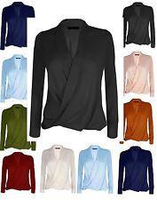 Womens Ladies Long Sleeve Blouse Chiffon V Neck Wrap Front T Shirt Work Top wrkL