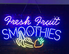 "New Fresh Fruit Smoothies Neon Light Sign 32""x24"" Open Shop Bar Ice Cream"