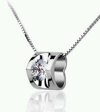 crystal heart silver necklace Christmas wedding bride birthday bridesmaid 332