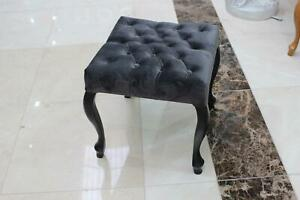 Chesterfield Stool Fabric Design Couch Classical Footrest Black New Immediate