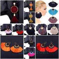 Women Boho Style Jewelry Long Tassel Fringe Fan Shape Dangle Drop Hook Earrings