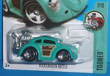 2017 HOT WHEELS Tooned VW Volkswagen Beetle Aqua 7/10 Col. #74/365