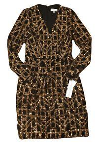 NEW RTLS $225 CALVIN KLEIN GOLD SEQUIN BLACK STRETCH DRESS SZ 12