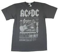 AC/DC Tour 1977 Poster Concert Image Grey T Shirt Medium New Official Band Merch