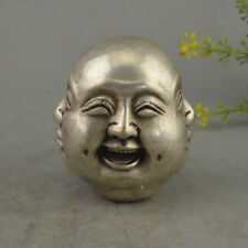 CHINESE OLD WHITE COPPER CARVED BUDDHA HEAD STATUE