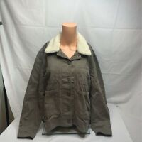 Lucky Brand Womens Jacket Coat Green Buttons Faux Fur Collared Stretch M New
