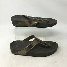 Fitflop Thong Casual Sandals Jeweled Embellished Metallic Leather Gold Womens 10