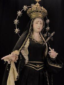 Madonna Addolorata Dolosa 66 cm Statua vestita domestica pietas santo vestito