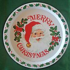 "Vintage Merry Christmas Santa Holly Berries Round Metal Serving Tray 13"""