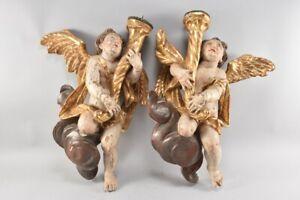 k49h35- Paar Barocke Leuchter Engel, Holz geschnitzt & gefasst, 18. Jh.