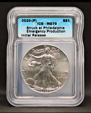 2020 (P) Silver Eagle ICG MS70 S$1 Philadelphia Struck Emergency Production
