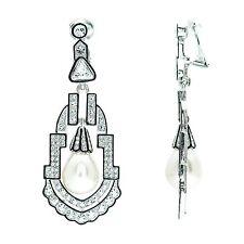 Kenneth Jay Lane rhinestone silver rhodium pearl drop deco clip earrings 4290EBL