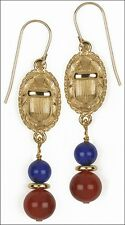 "Egyptian Scarab Earrings Lapis & Carnelian Beads 1-3/4"" 24 Karat Gold-Plated"