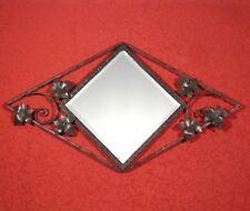 Vintage French Mirror, Wrought Iron, Grape Vine Leaves, 28 x 16 inches