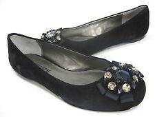 MODA SPANA WOMEN'S TAMARA JEWELED BALLET FLATS BLACK SUEDE US SIZE 7 MEDIUM (B)M