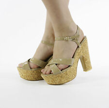 Women Ladies Peeptoe Strappy Platform High Cut out Wedge Shoe Sandals Size 3-8 Khaki UK 5 EU 38
