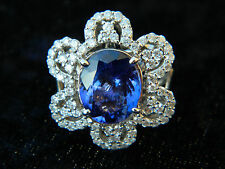 Tanzanite 4.5 carat  w/ 1 carat of side diamonds Michael Christoff 18K Sz 6 Ring