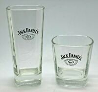 2 x JACK DANIELS GLASSES - GLASS TUMBLER HOME BAR WHISKEY WHISKY HI BALL TALL