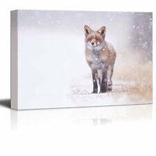 "Canvas Prints Wall Art - Red Fox in the Snow | Modern Wall Decor- 16"" x 24"""