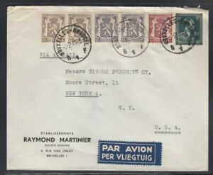 BELGIUM Commercial Cover Brussels to New York 2-2-1949 Cancel