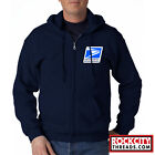 USPS LOGO POSTAL FULL ZIPPED NAVY HOODIE EMBROIDERED Zip Up United Service