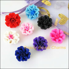 8Pcs Mixed Polymer Fimo Clay Heart Flower Spacer Beads Charms 15 mm