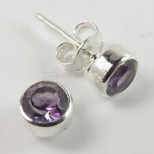 Small Pretty Stud Post Earrings 925 Sterling Silver Natural AMETHYST Gemstone