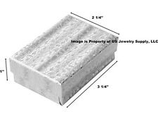 Lot Of 100 Silver Cotton Filled Jewelry Packaging Gift Box 3 14 X 2 14 X 1