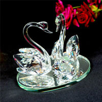 Twin Double Swans Decorative Crystal Animal Gift Present Model NEW_UK